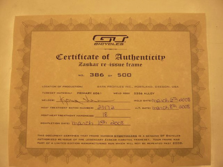 GT ZASKAR(ザスカー)Certificate of Authenticity