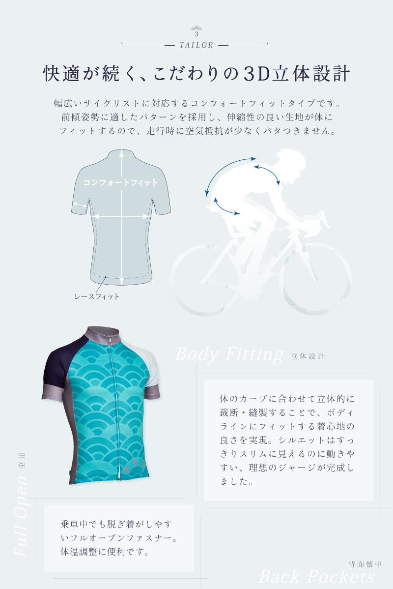 サイクリングジャージ、半袖、メンズ、レディース、BIKOT(ビコット)、立体設計